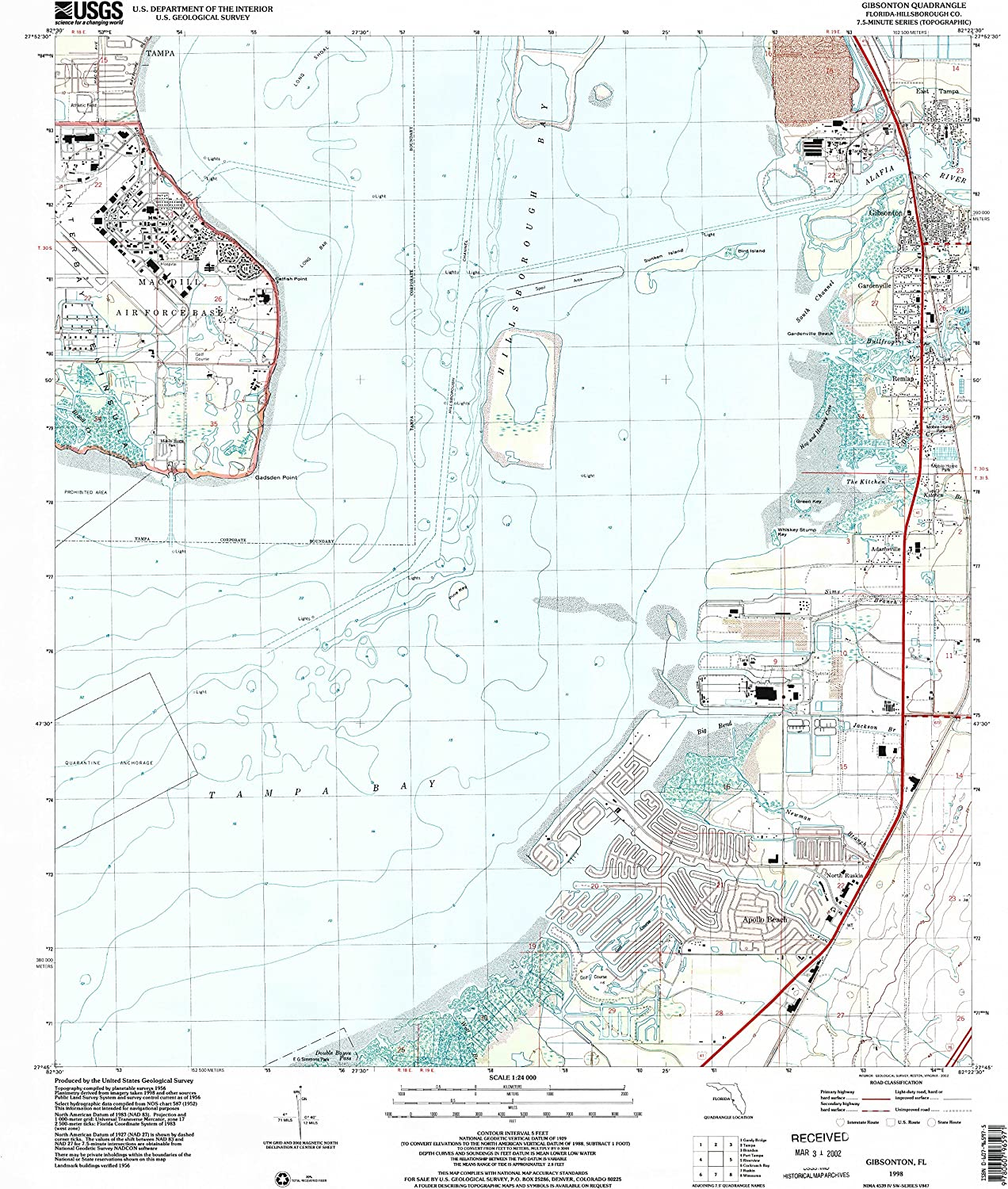 Gibsonton FL topo map, 1 24000 Scale, 7.5 X 7.5 Minute, Historical, 1998, Updated 2002, 26.8 x 23.2 in