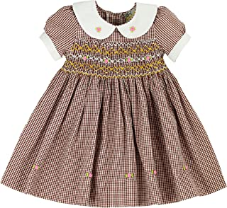sissymini Mini Rose Buds Ghingham Brown Hand Smocked Girls Dress - Infant & Toddler (12M-4T)