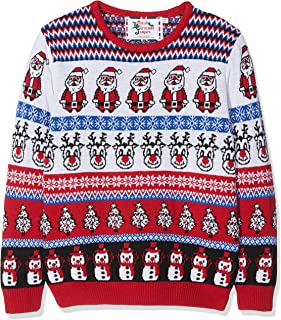 British Christmas Jumpers Kid's Comic Crazy Christmas Jumper, White Multicolour, Years (Size: