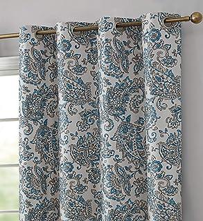 Amazon Com Curtains Drapes Blue Paisley Curtains Drapes Window Treatments Home Kitchen