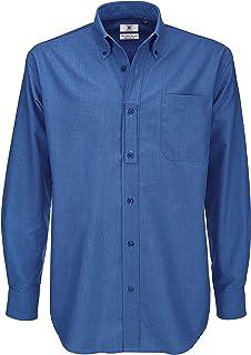 B&C Men's Oxford Long Sleeve Shirt Business, Blue (Blue Chip 000), 16 (Size:Large)