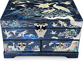 Hand Made Jewelry Box Ring Organizer Mother of Pearl Sea Shell Inlaid 2 Level 2 Drawers Mirror Lid Cranes Design Blue