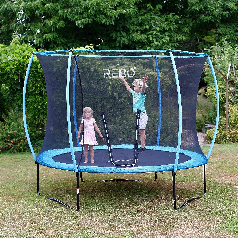 Rebo Jump Zone Gartentrampolin mit Halo Sicherheitsnetz, 3 m