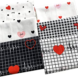 "ZAIONE 6pcs/Set Love Heart Beat Black &White Series 100% Cotton Quilt Fabric 19.6"" x 19.6"" Fat Quarter Bundle Sheet Callin..."