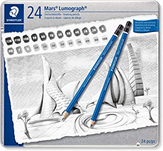 Staedtler Mars Lumograph Art Drawing Pencils, Graphite Pencils in Metal Case, Break-Resistant Bonded Lead, Grades 12B-10H, Set of 24, 100