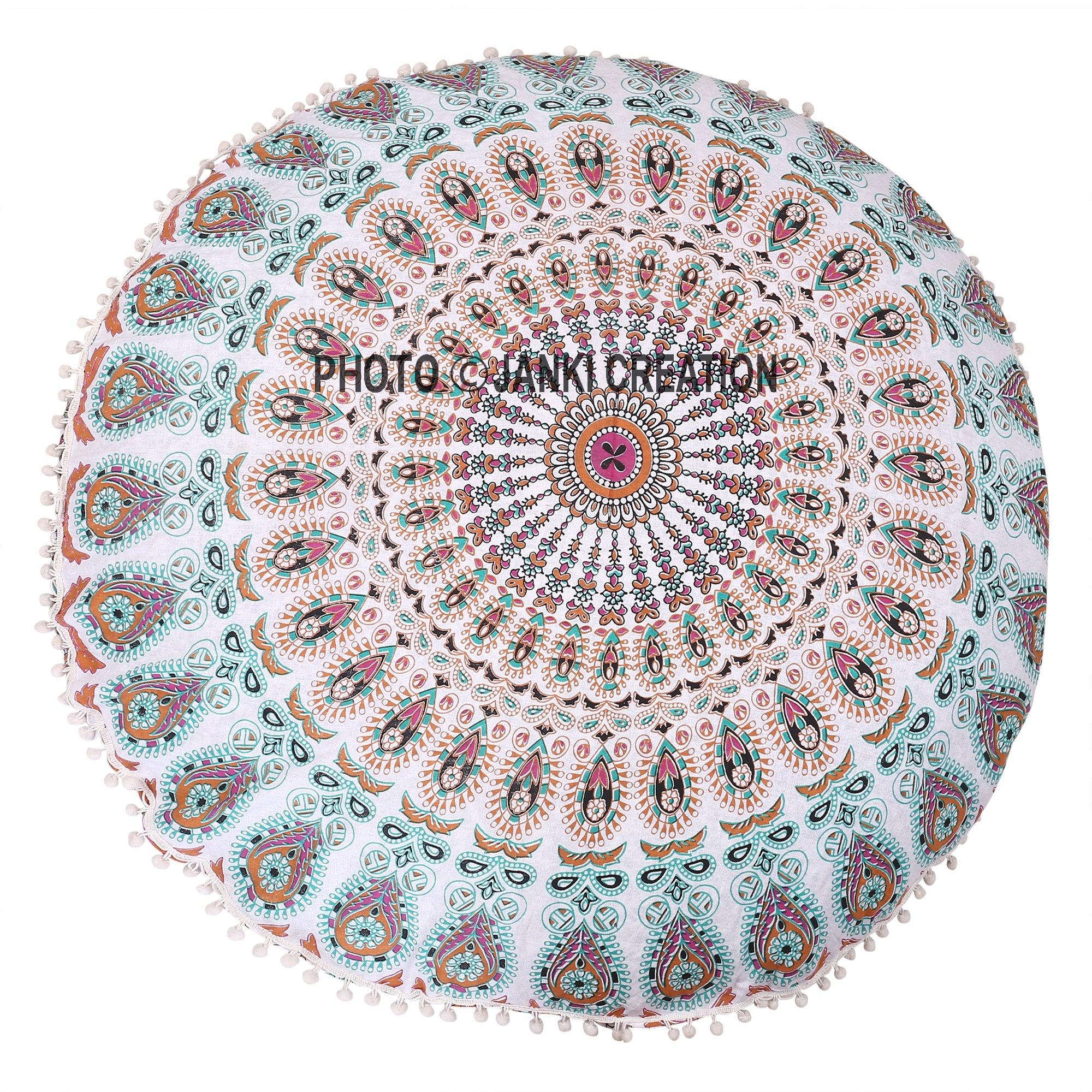 Tapiz de algodón con diseño de mandala de suelo redondo hippie de suelo redondo hippie solo un boho decoración bohemia con pompón de mandala, redondo, tamaño 32 x 32 cm, puf multiredondo: