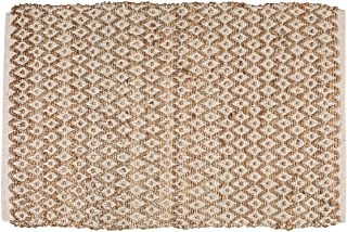 Jute Cotton Diamond Rug 2x3' Hand Woven Reversible Classic White Natural Rug,Kitchen Rugs, Farmhouse Rugs, Rugs for Living...