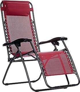 Amazon Basics Chaise de camping pliable zéro gravité Bordeaux