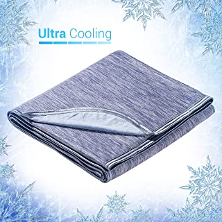 Elegear Twin Size Cooling Blanket for Summer Sleeping, Japanese Q-Max 0.4 Cooling Fiber Absorb Body Heat 100% Cotton Backing 59x79'' Blue Blanket for Bed&Travel, Hypo-allergenic, Machine Washable