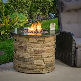 """Christopher Knight Home 296658 Rogers Round Stone Fire Pit Table, 32"""" Propane Gas Patio Heater with Lava Rocks"""