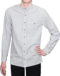 Lee Valley Men's Irish Collarless Linen Grandad Shirt LN8 Navy/White Stripe