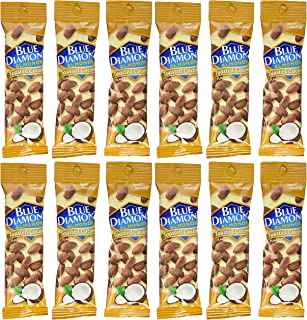 Blue Diamond Toasted Coconut Flavored Almonds, 1.5 oz tubes, 12 tubes each box