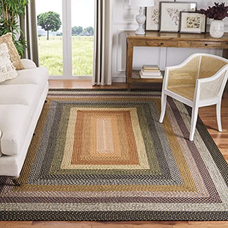 Amazon Com Safavieh Braided Collection Brd313a Handmade Country Cottage Reversible Area Rug 4 X 6 Brown Multi Furniture Decor