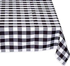 مفرش طاولة LA Linen مستطيل الشكل مقاس 152.4 سم × 274.4 سم، أسود وأبيض