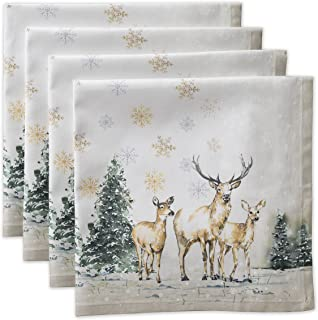 Maison d' Hermine Deer in The Woods 100% Cotton Set of 4 Napkins 20 Inch by 20 Inch. Perfect for Thanksgiving and Christmas