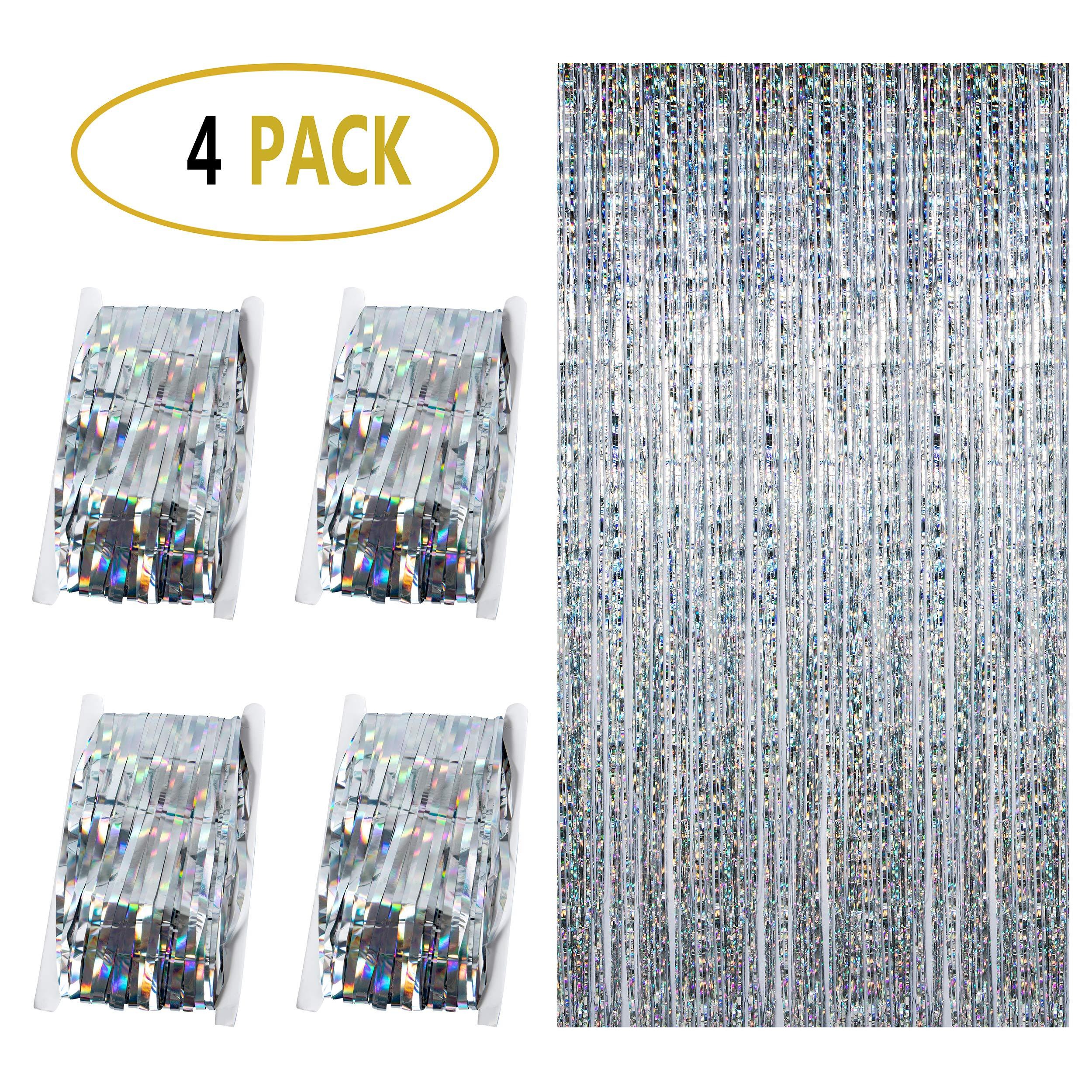 Diffrant 4 Piezas Cortina de Decoración de Fiesta, Brillantes Foil Fringe Cortinas Curtain con Flecos de Papel Aluminio Metálicos Cortina Lamina Metálica Boda Cumpleaños Navidad Decoración (Plateado): Amazon.es: Hogar
