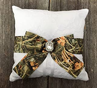 Rustic White Lace Camouflage Crystal Embellished Wedding Bridal Ring Bearer Pillow