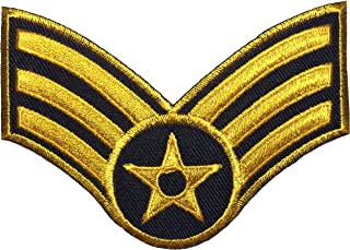 Papapatch Senior Airman Chevrons Rank US Air Force USAF Military U.S. Army Morale Sew Iron on Embroidered Applique Badge Sign Patch (1 Piece) - Gold on Black (IRON-AIRMAN-BKGL)