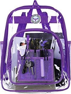 Bagail Clear See Through Backpack Heavy Duty Transparent Daypack Student School Bookback (Purple