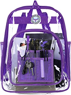 BAGAIL Clear Backpack Heavy Duty See Through Transparent Daypack Student School Bookback, Purple (Purple) - th0001