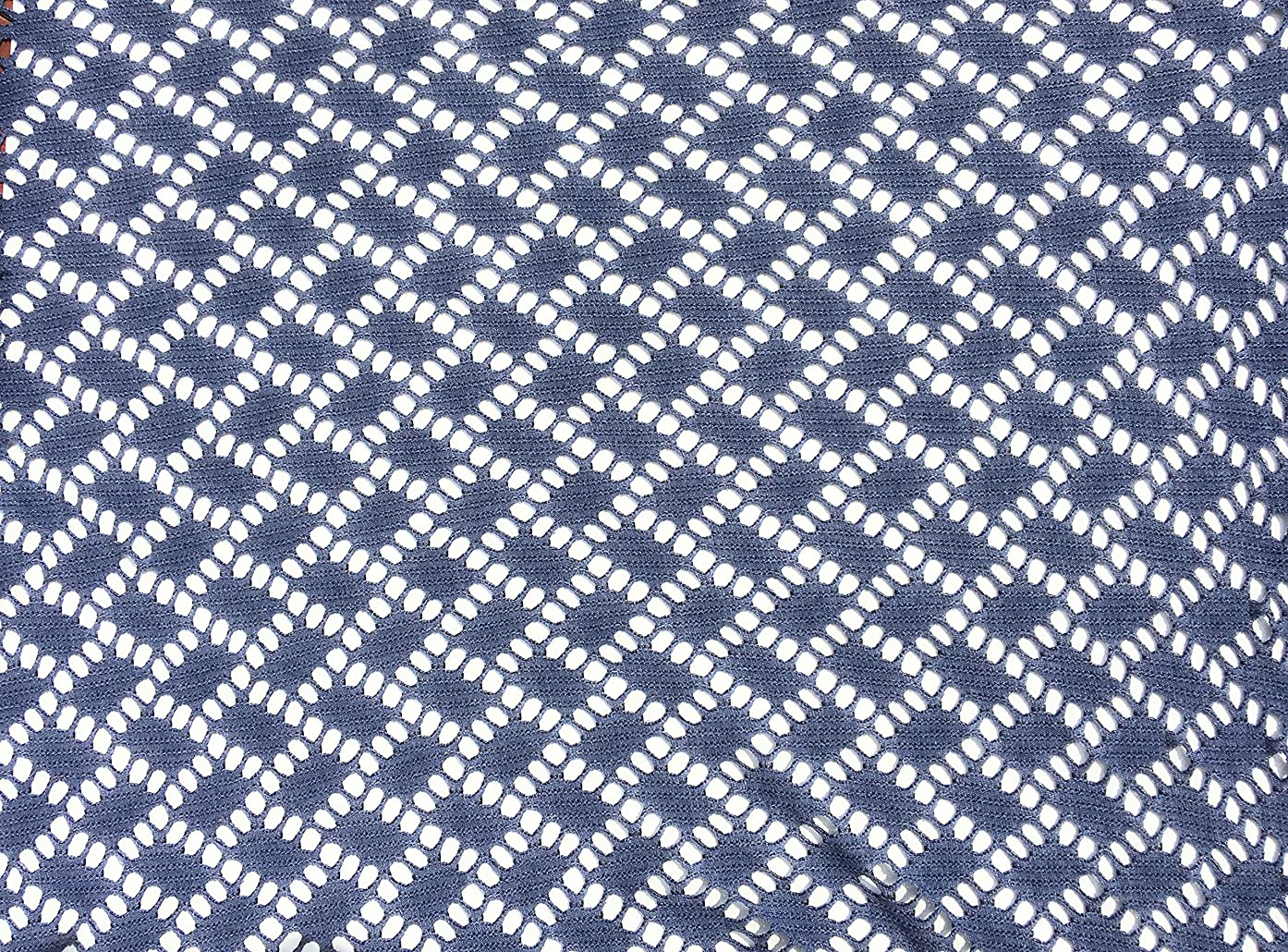 Cloudy BLUE Fabric open Airy Lace Design 58