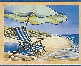 Beach Chair Recliner Umbrella on the Seashore Sailboats Nautical Wallpaper Border Retro Design, Roll 15' x 7''