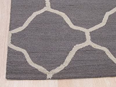 EORC ME5GY Hand-Tufted Wool Moroccan Rug, 5' x 7', Gray