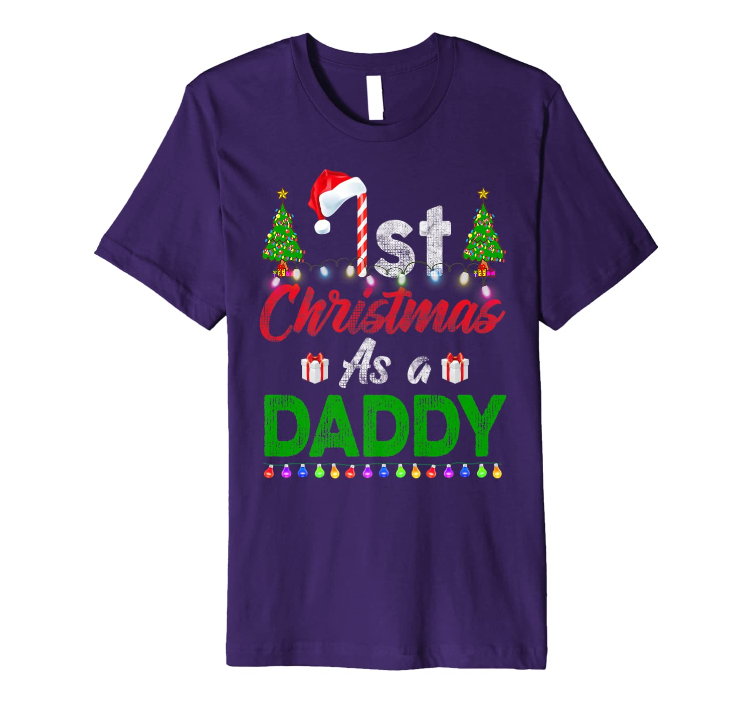 1st Christmas As a Daddy Matching Family Xmas Gifts Funny Premium T-Shirt