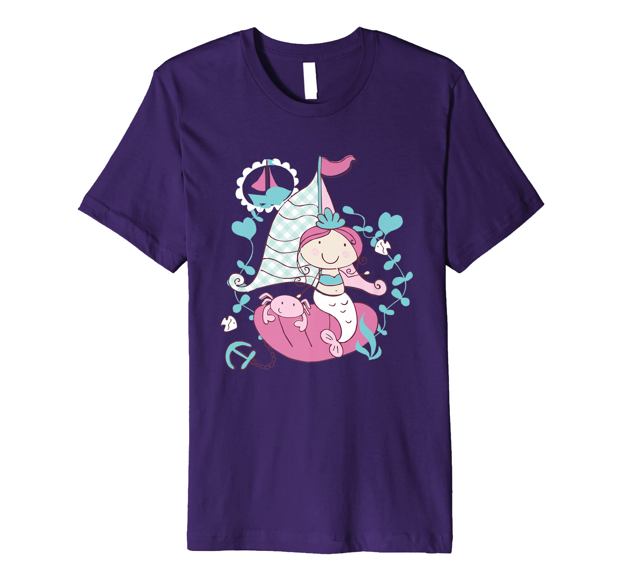 Lovely Mermaid Sailing Boat Adventure Premium T-Shirt-AZP