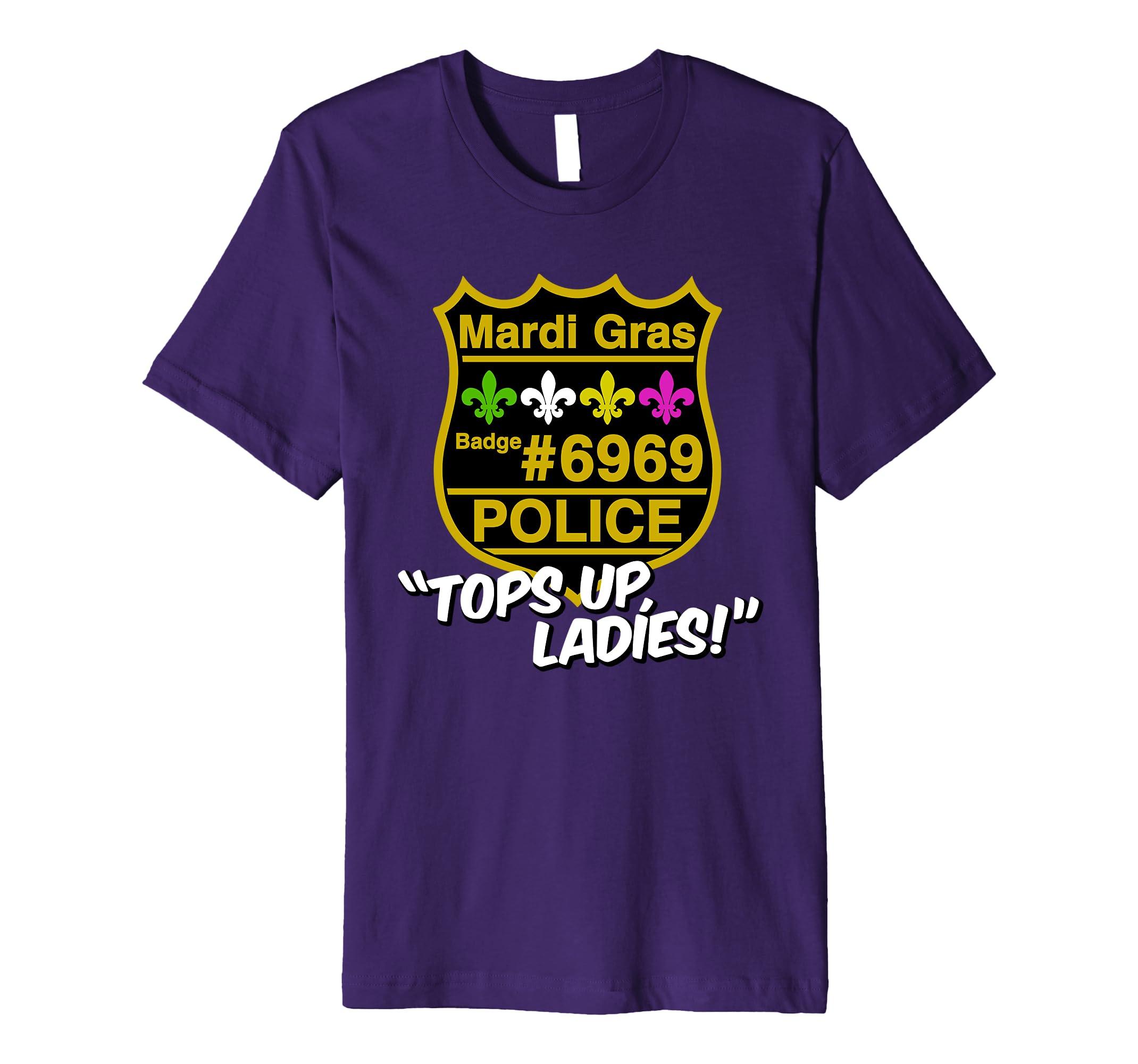 ffdda6a6 Amazon.com: Mardi Gras Police T-shirt Tops Up Ladies Funny NOLA Parade:  Clothing