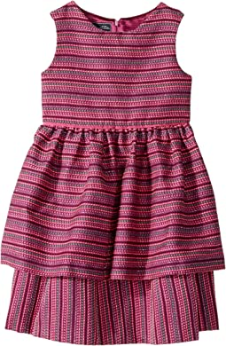 Oscar de la Renta Childrenswear Tweed Scallop Hem Layer Dress (Toddler/Little Kids/Big Kids)