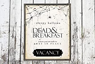 Xusmimo Sleepy Hallows Dead and Breakfast Hand Painted Wood Sign Farmhouse Style Rustic