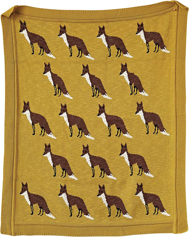 Creative Co-op gold Cotton Knit Fox Blanket