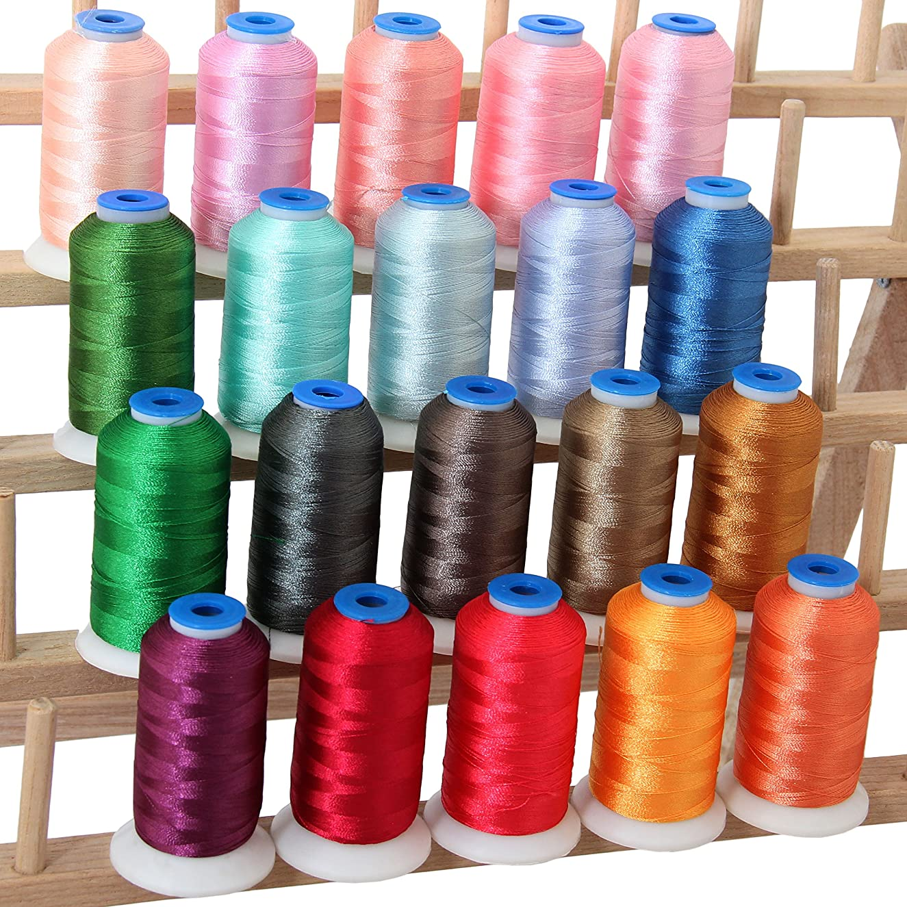 Threadart 20 Spool Polyester Embroidery Machine Thread Pastel Colors | 1000M Spools 40wt | For Brother Babylock Janome Singer Pfaff Husqvarna Bernina Machines - 10 Sets Available