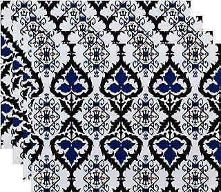 "E by design PT4GN538BL14BL40 18x14"", Bombay, Geometric Print Placemat, Navy Blue"