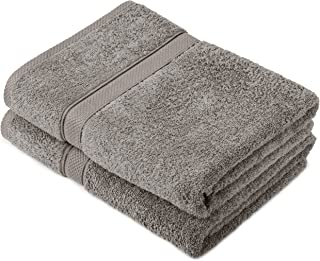Pinzon by Amazon - Egyptian Cotton Towel Set, 2 Bath Towels - Grey, 600gsm