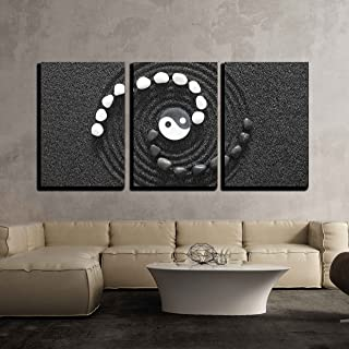 wall26 - 3 Piece Canvas Wall Art - Zen Stones with Yin and Yang - Modern Home Decor Stretched and Framed Ready to Hang - 24