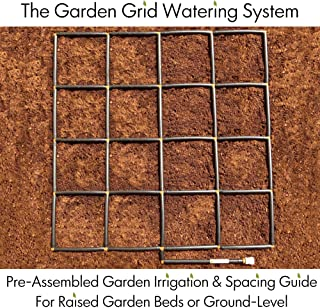 Garden In Minutes Garden Grid Watering System | Preassembled Drip Irrigation, Soaker Hose & Sprayer Style kit, in one | Square Foot Gardening, Raised Beds, Planters or Ground Level - 4x4 (44