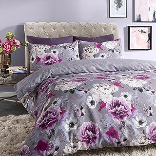 Sleepdown Inky Floral Grey Juego de Funda de edredón tamaño King, algodón, Gris, Matrimonio