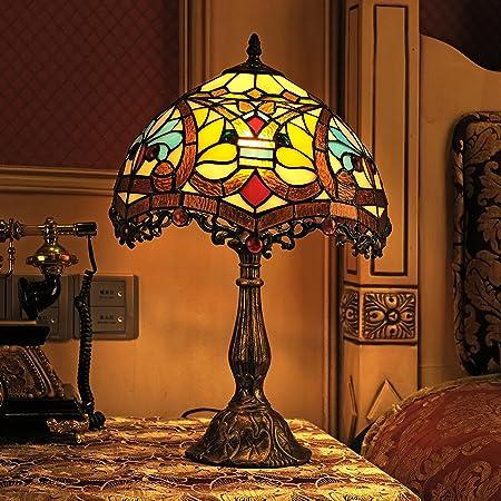 Style De Tiffany Stained Gweat 12-Pouce Vintage Européenne Du Verre Et Perles Fleur Lampe De Table Lampe De Chevet