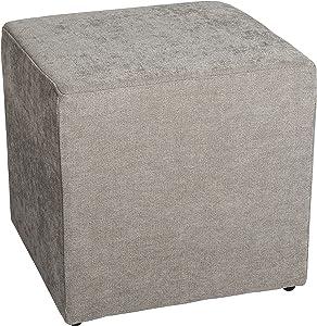 Amaris Elements | 'Joe' Moderne Petit Repose-Pieds en Tant Que Cube, 100% Microfibre, Gris Clair rectangulaire Aspect Velours