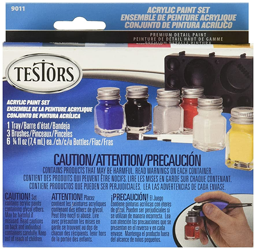 TESTOR CORPORATION 9011 Primary Colors Acrylic Paint Set, Multicolor