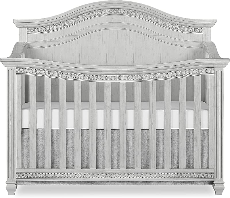 Evolur Madison 5 In 1 Curved Top Convertible Crib Antique Grey Mist