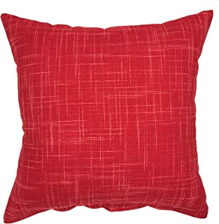 YOUR SMILE Pure Red Square Decorative Throw Pillows Case Cushion Covers Shell Cotton Linen Blend 18 X 18 Inches