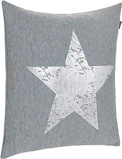 Cojín Couch Cojín Diseño Cojín Estrella Impresión - con Relleno Agradable y Suave, poliéster, Gris/Plateado, Aprox.45x45 cm