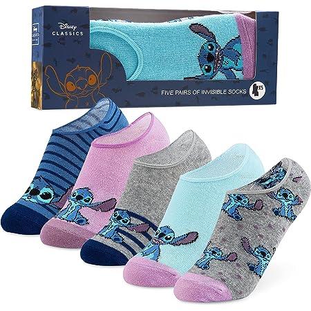 Disney Invisible Socks for Women Girls, 5 No Show Socks, Stitch Disney Gifts