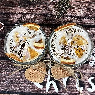 2 candele all'arancio in cera di soia e olio essenziale con arance disidratate e glitter doppio stoppino in legno regalo d...