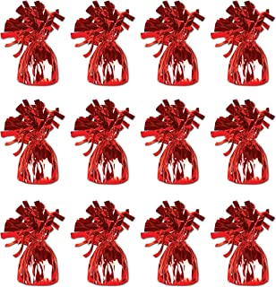 Beistle 50804-R 12-Piece Red Metallic Wrapped Balloon Weights