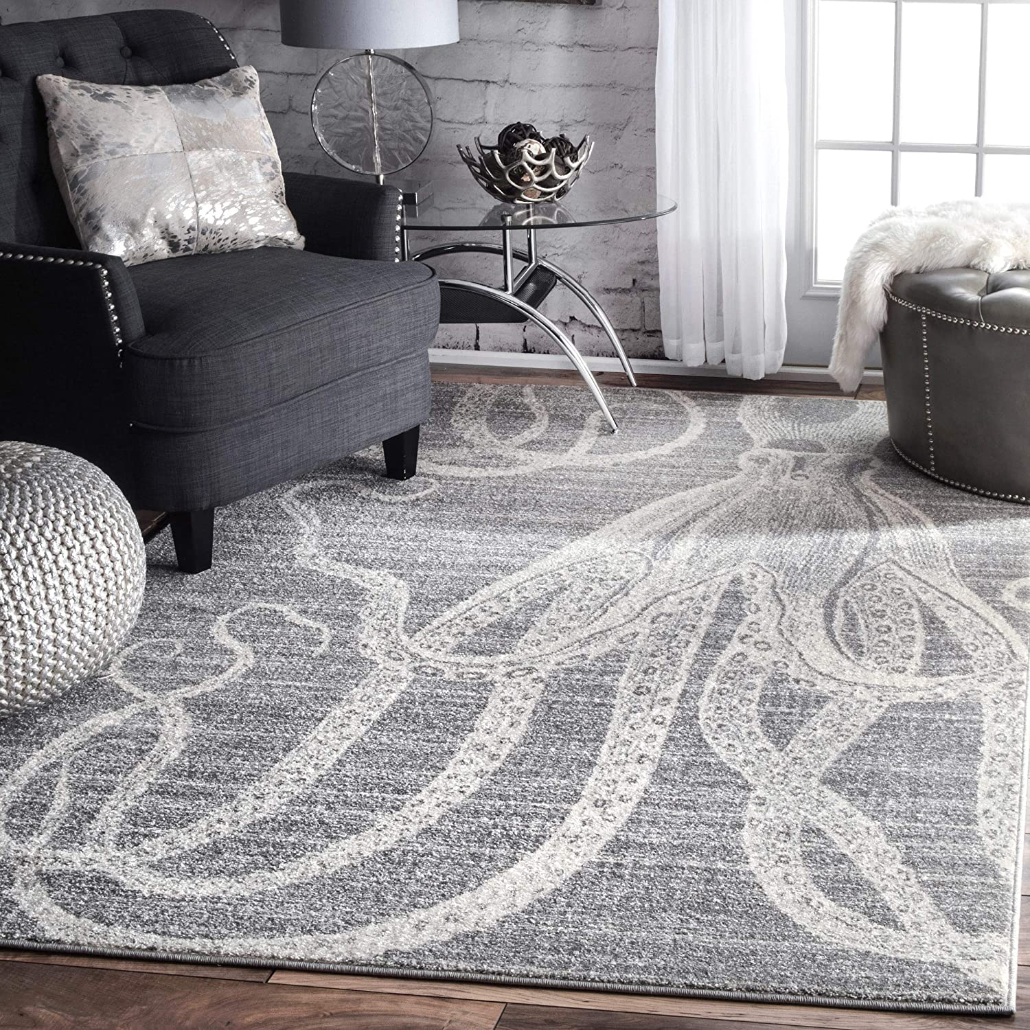 nuLOOM Thomas Paul Octopus Area Rug Dealing full price Super sale reduction x Grey 7' 6