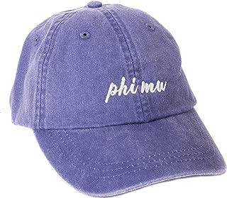Phi Mu (N) Baseball Hat Cap Cursive Name Font Adjustable Leather Strap